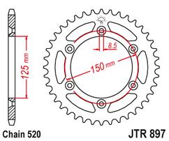 Звезда ведомая стальная самоочищающаяся KTM / Husqvarna / Husaberg 52 зуба JT