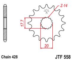 Звезда ведущая 14 зубов YAMAHA YZ85 02-20 JT
