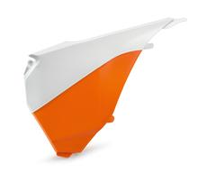 Крышка корпуса воздушного фильтра левая оранжево-белая KTM SX/SX-F 13-15 / EXC/EXC-F 14-16