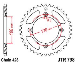Звезда ведомая стальная 52 зуба YZ85 / RM85 JT