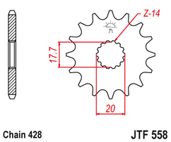 Звезда ведущая 18 зубов YAMAHA YZ85 02-20 JT