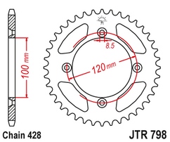 Звезда ведомая стальная 47 зубов YZ85 / RM85 JT