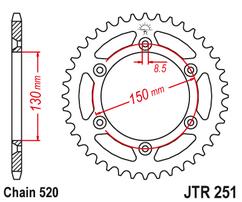 Звезда ведомая стальная самоочищающаяся 51 зуб Yamaha YZ/WR 99-20 JT