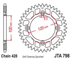 Звезда ведомая алюминиевая 52 зуба YZ85 / RM85 JT