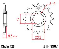 Звезда ведущая 14 зубов 85SX 04-17 / TC85 15-17 JT