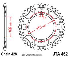 Звезда ведомая алюминиевая 49 зубов KX85 01-20 (428 цепь) JT