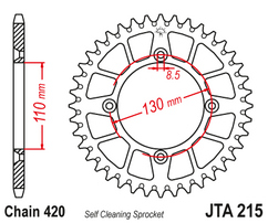 Звезда ведомая алюминиевая 50 зубов Honda CR85 / CRF150R JT
